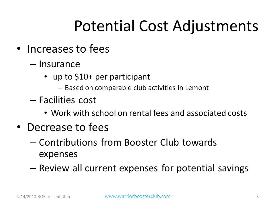 Potential Cost Adjustments Increases to fees – Insurance up to $10+ per participant – Based on comparable club activities in Lemont – Facilities cost Work with school on rental fees and associated costs Decrease to fees – Contributions from Booster Club towards expenses – Review all current expenses for potential savings 4/14/2010 BOE presentation8 www.warriorboosterclub.com