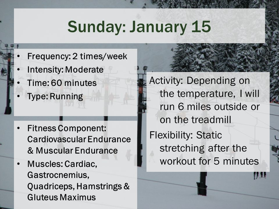 Sunday: January 15 Frequency: 2 times/week Intensity: Moderate Time: 60 minutes Type: Running Fitness Component: Cardiovascular Endurance & Muscular Endurance Muscles: Cardiac, Gastrocnemius, Quadriceps, Hamstrings & Gluteus Maximus Activity: Depending on the temperature, I will run 6 miles outside or on the treadmill Flexibility: Static stretching after the workout for 5 minutes