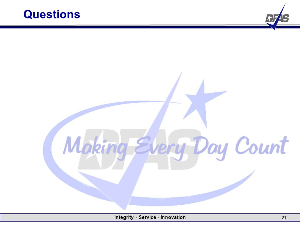 Integrity - Service - Innovation 21 Questions
