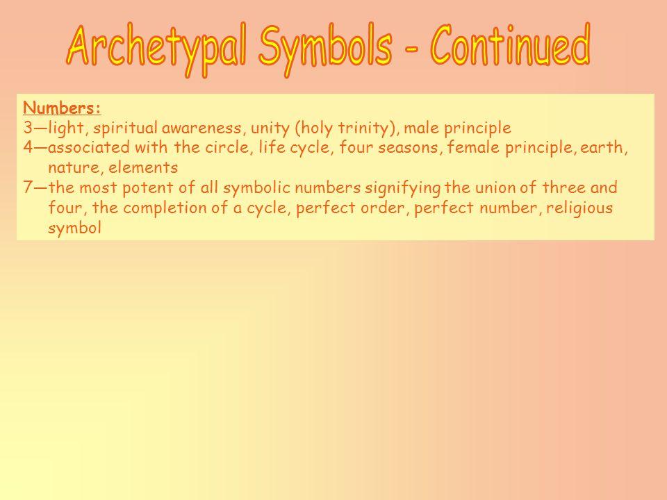 Numbers: 3—light, spiritual awareness, unity (holy trinity), male principle 4—associated with the circle, life cycle, four seasons, female principle,