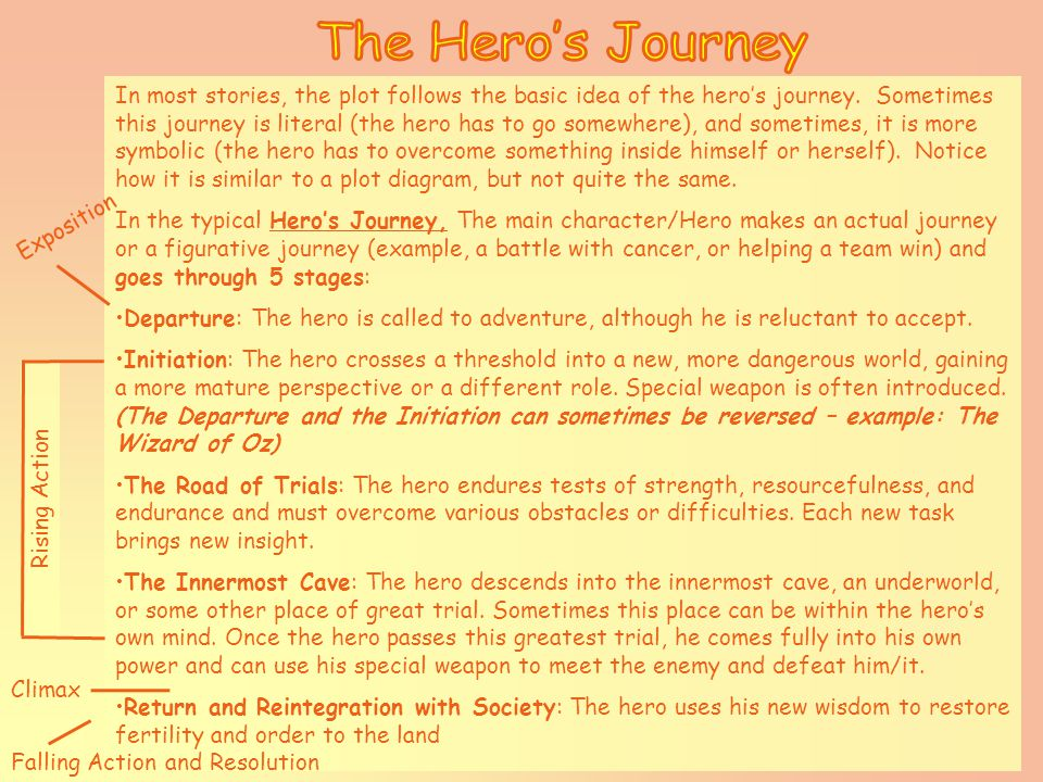 In most stories, the plot follows the basic idea of the hero's journey.
