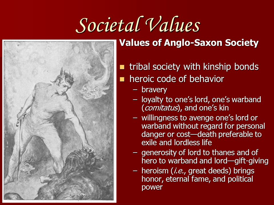 Societal Values Values of Anglo-Saxon Society tribal society with kinship bonds tribal society with kinship bonds heroic code of behavior heroic code of behavior –bravery –loyalty to one's lord, one's warband (comitatus), and one's kin –willingness to avenge one's lord or warband without regard for personal danger or cost—death preferable to exile and lordless life –generosity of lord to thanes and of hero to warband and lord—gift-giving –heroism (i.e., great deeds) brings honor, eternal fame, and political power
