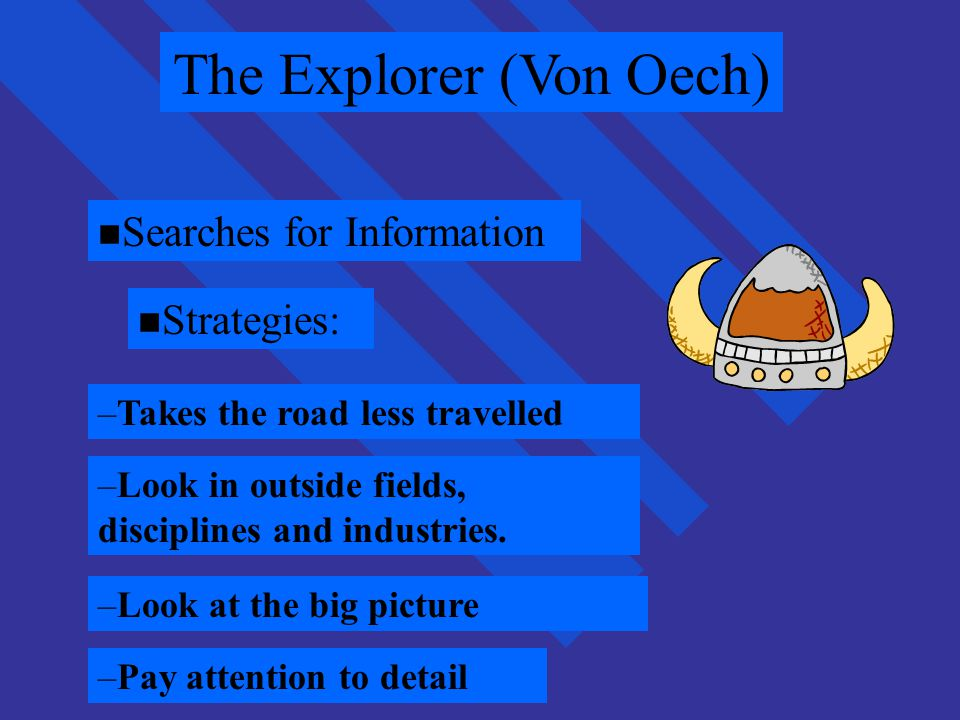 von Oech-4 roles von Oech-4 roles : The Judge: –Evaluate the ideas generated to see if any are worthy of pursuit and implementation : The Warrior: –Fight for the idea, overcome obstacles and barriers and serve as a champion for the idea