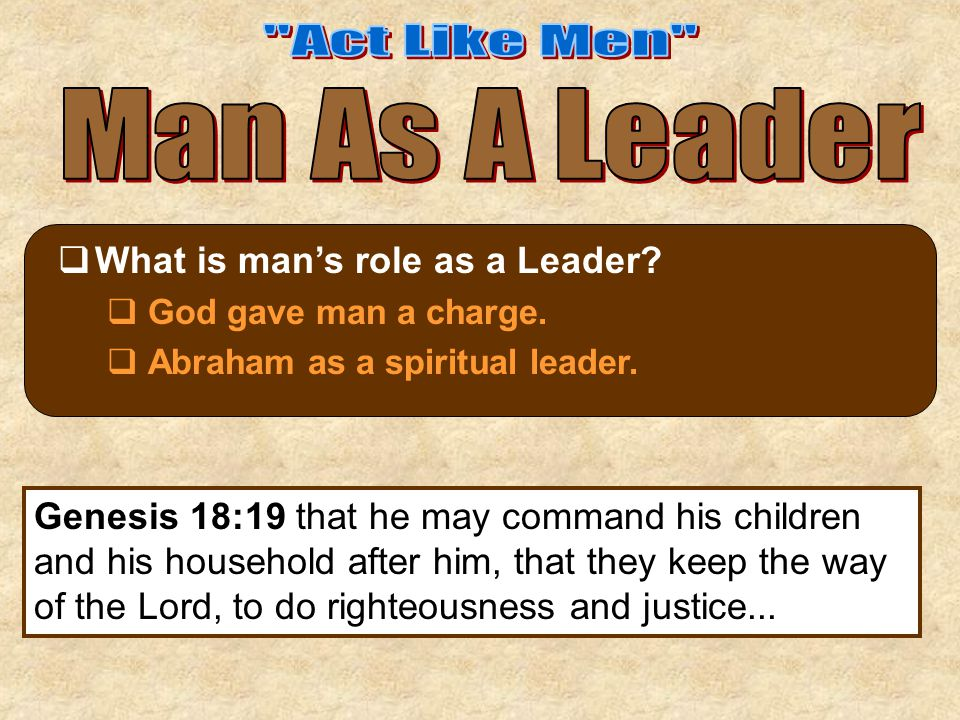  What is man's role as a Leader.  God gave man a charge.