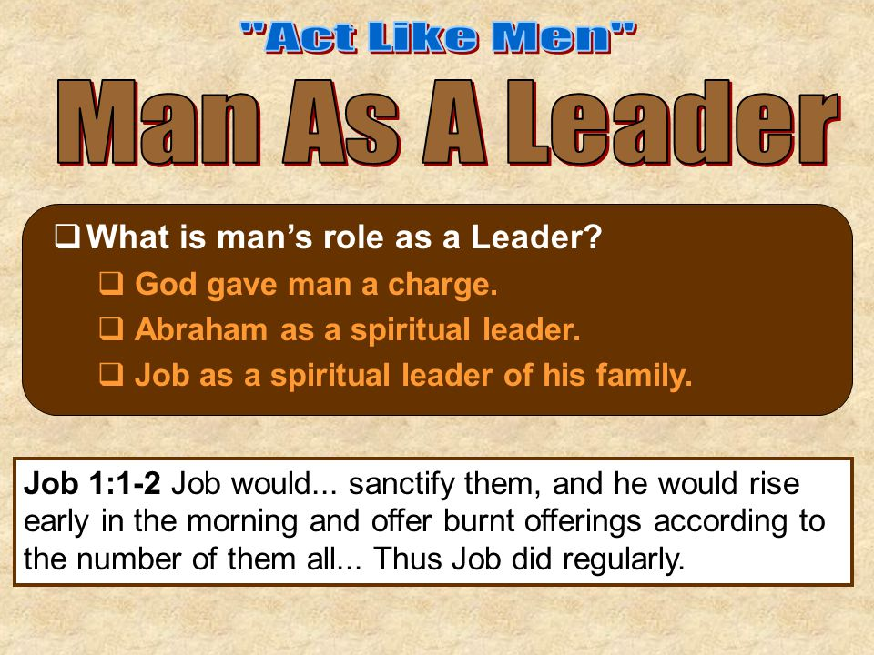  What is man's role as a Leader?  God gave man a charge.  Abraham as a spiritual leader.  Job as a spiritual leader of his family. Job 1:1-2 Job w