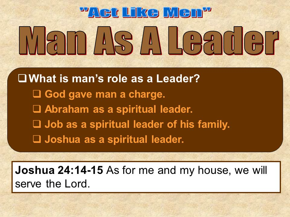  What is man's role as a Leader.  God gave man a charge.