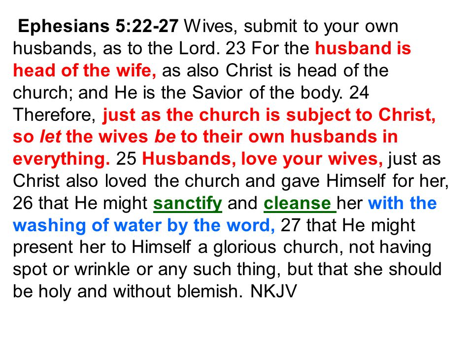 Ephesians 5:22-27 Wives, submit to your own husbands, as to the Lord. 23 For the husband is head of the wife, as also Christ is head of the church; an