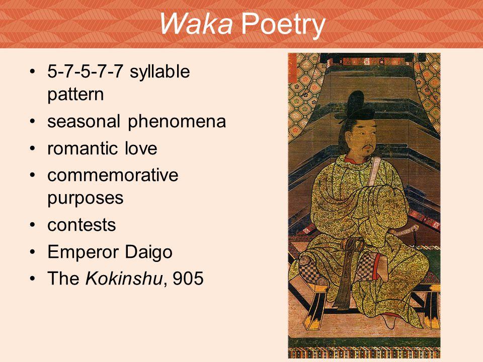 Waka Poetry 5-7-5-7-7 syllable pattern seasonal phenomena romantic love commemorative purposes contests Emperor Daigo The Kokinshu, 905