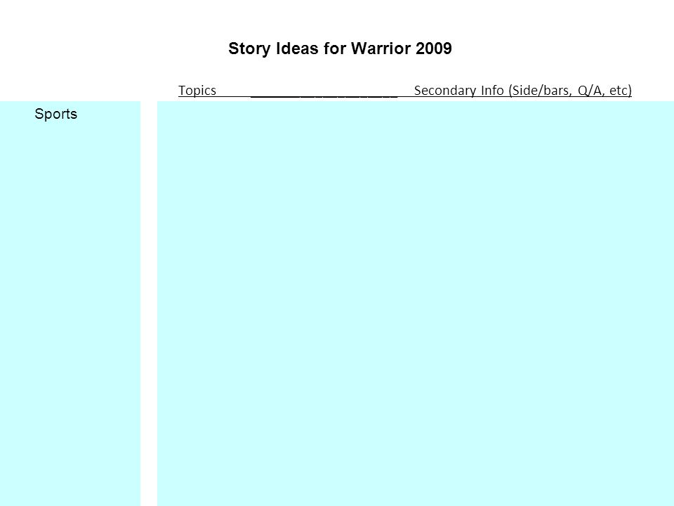 Story Ideas for Warrior 2009 Topics ____________________ Secondary Info (Side/bars, Q/A, etc) Sports