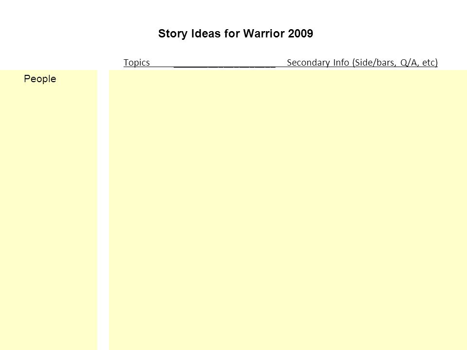 Story Ideas for Warrior 2009 Topics ____________________ Secondary Info (Side/bars, Q/A, etc) People