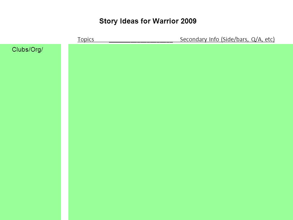 Story Ideas for Warrior 2009 Topics ____________________ Secondary Info (Side/bars, Q/A, etc) Clubs/Org/