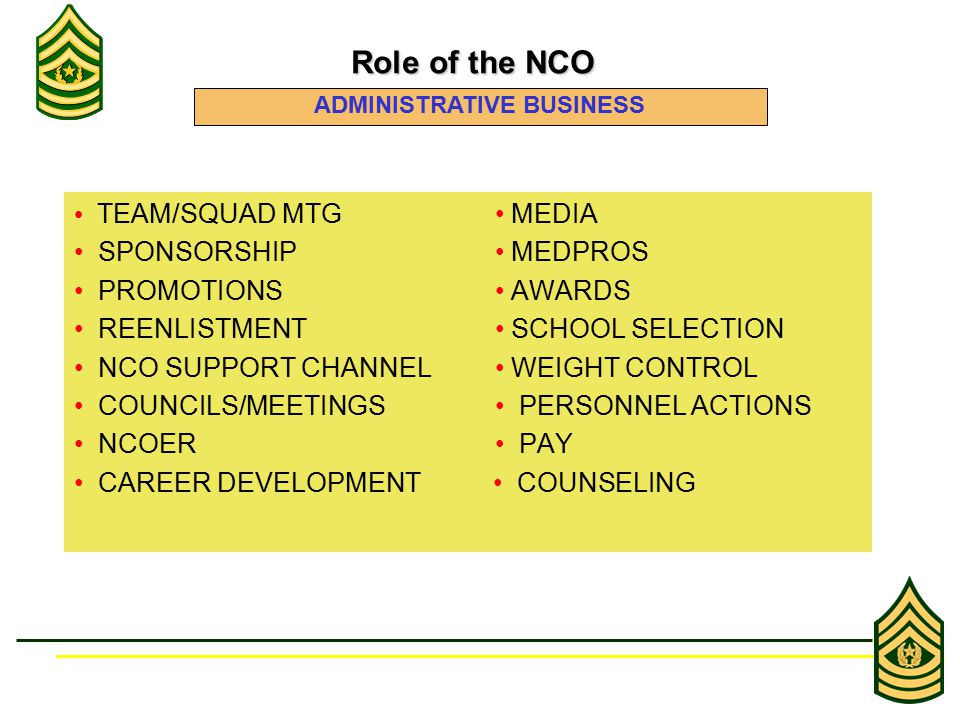 Role of the NCO Role of the NCO ADMINISTRATIVE BUSINESS TEAM/SQUAD MTG MEDIA SPONSORSHIP MEDPROS PROMOTIONS AWARDS REENLISTMENT SCHOOL SELECTION NCO SUPPORT CHANNEL WEIGHT CONTROL COUNCILS/MEETINGS PERSONNEL ACTIONS NCOER PAY CAREER DEVELOPMENT COUNSELING