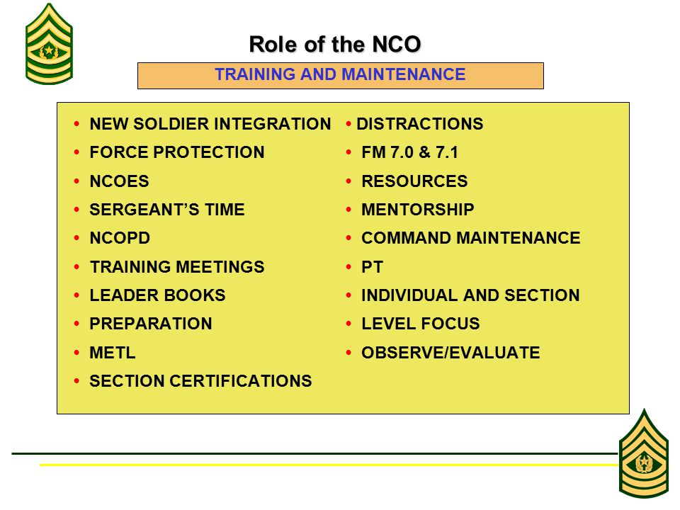 NEW SOLDIER INTEGRATION DISTRACTIONS FORCE PROTECTION FM 7.0 & 7.1 NCOES RESOURCES SERGEANT'S TIME MENTORSHIP NCOPD COMMAND MAINTENANCE TRAINING MEETI