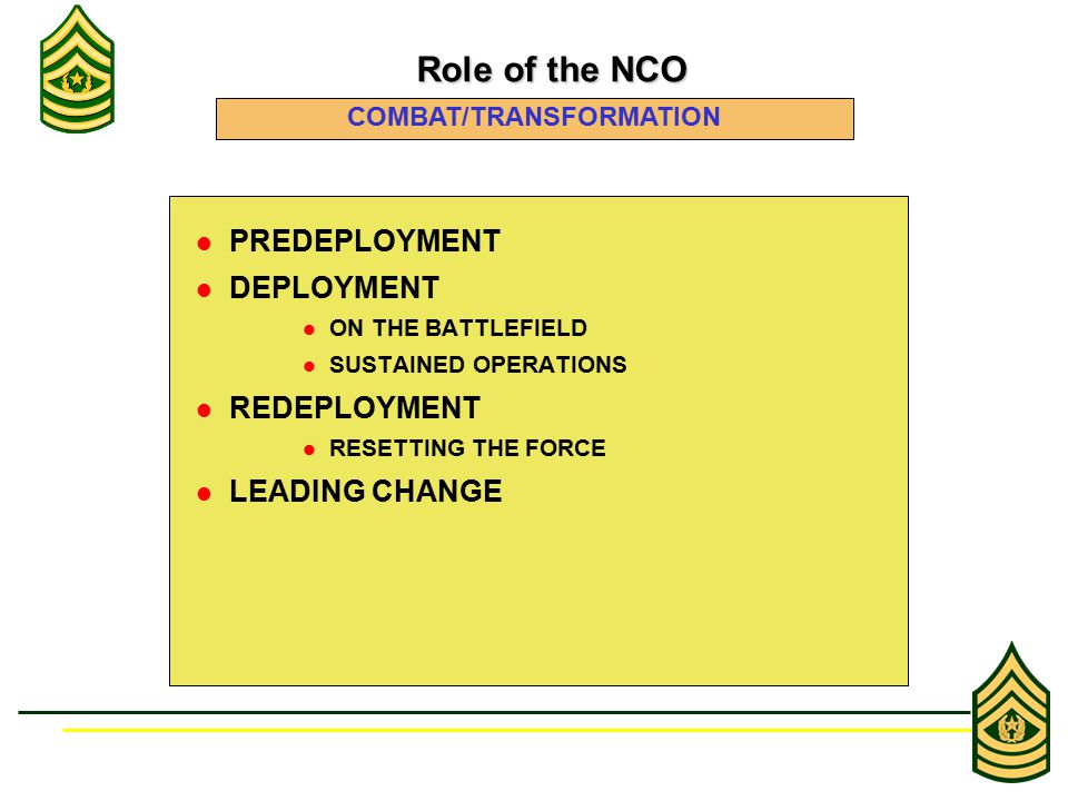 PREDEPLOYMENT DEPLOYMENT ON THE BATTLEFIELD SUSTAINED OPERATIONS REDEPLOYMENT RESETTING THE FORCE LEADING CHANGE Role of the NCO Role of the NCO COMBAT/TRANSFORMATION