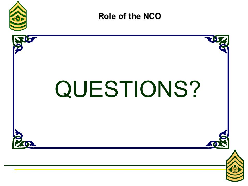 Role of the NCO Role of the NCO QUESTIONS?