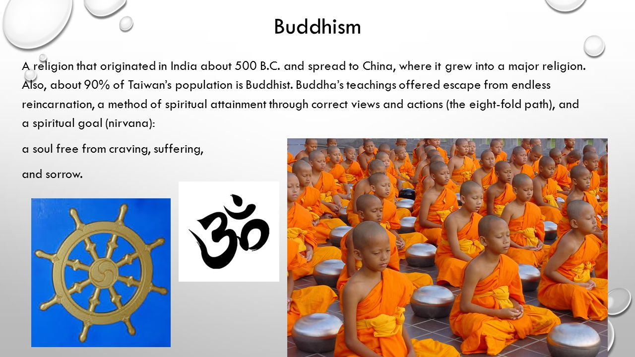 Buddhism A religion that originated in India about 500 B.C.