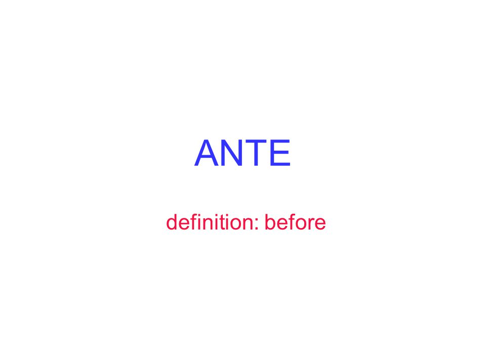 ANTE definition: before