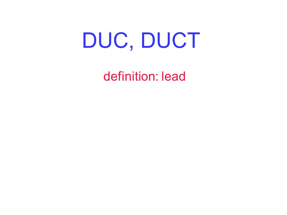 DUC, DUCT definition: lead