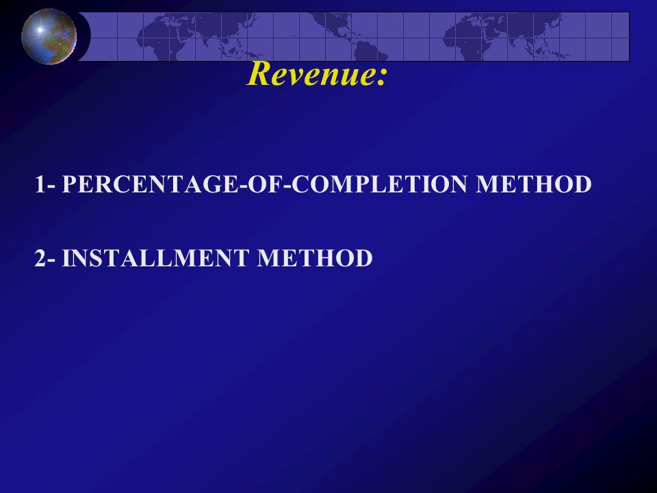 Revenue: 1- PERCENTAGE-OF-COMPLETION METHOD 2- INSTALLMENT METHOD