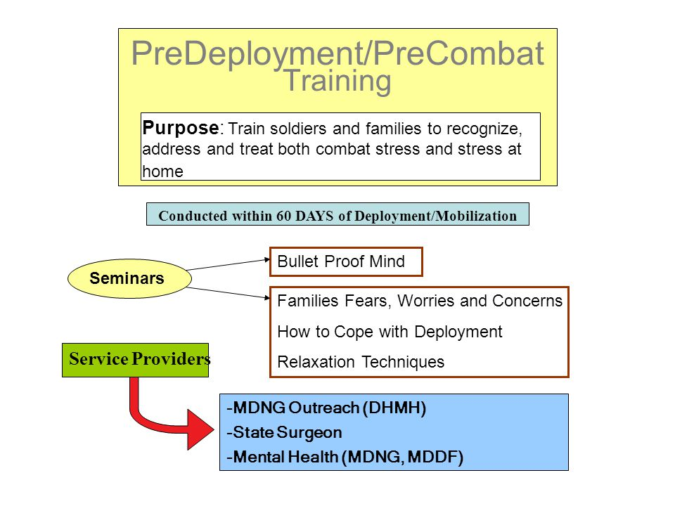 PreDeployment/PreCombat Training Purpose: Train soldiers and families to recognize, address and treat both combat stress and stress at home Conducted within 60 DAYS of Deployment/Mobilization Seminars Bullet Proof Mind Families Fears, Worries and Concerns How to Cope with Deployment Relaxation Techniques Service Providers -MDNG Outreach (DHMH) -State Surgeon -Mental Health (MDNG, MDDF)