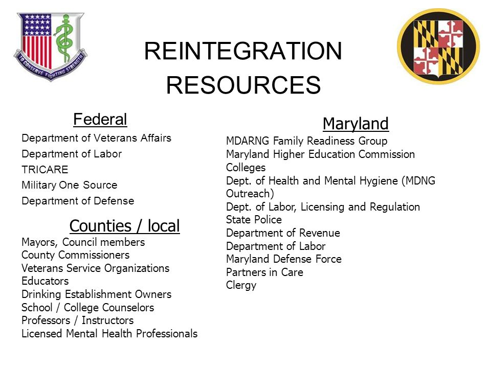 REINTEGRATION RESOURCES Federal Department of Veterans Affairs Department of Labor TRICARE Military One Source Department of Defense Maryland MDARNG Family Readiness Group Maryland Higher Education Commission Colleges Dept.