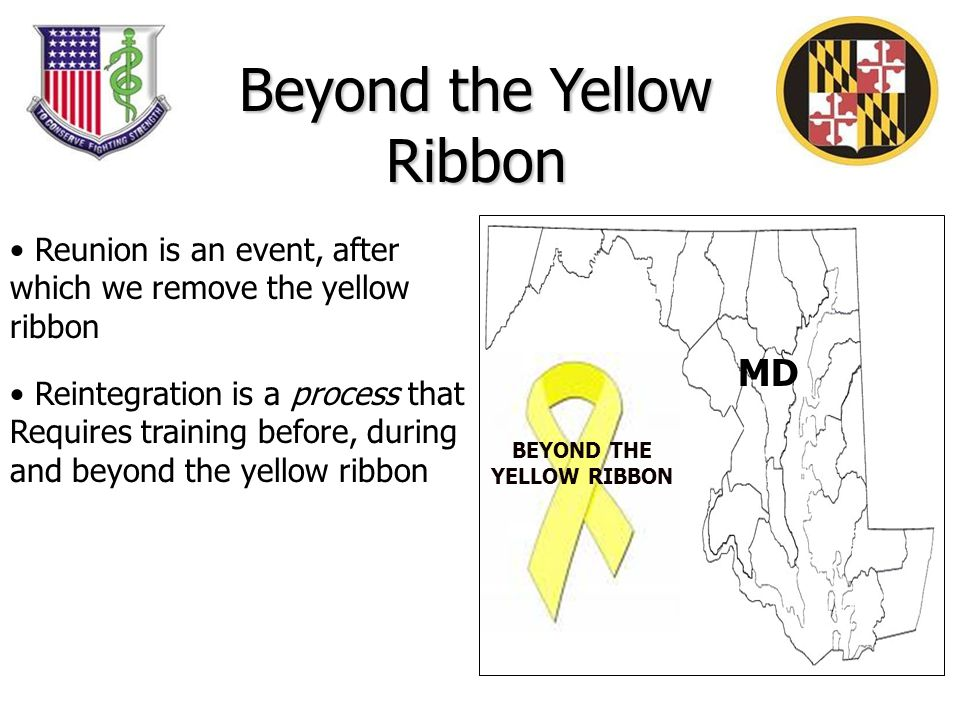 MD Reunion is an event, after which we remove the yellow ribbon Reintegration is a process that Requires training before, during and beyond the yellow ribbon BEYOND THE YELLOW RIBBON Beyond the Yellow Ribbon
