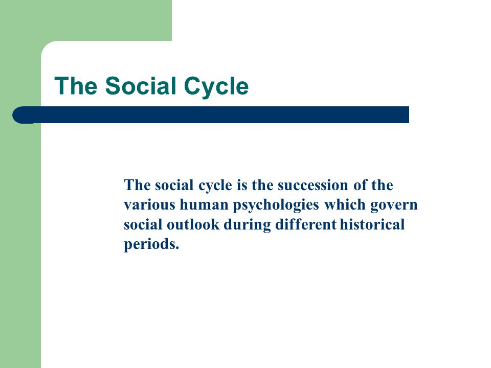The Social Cycle The social cycle is the succession of the various human psychologies which govern social outlook during different historical periods.