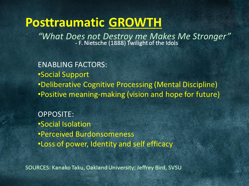 Posttraumatic GROWTH What Does not Destroy me Makes Me Stronger - F.