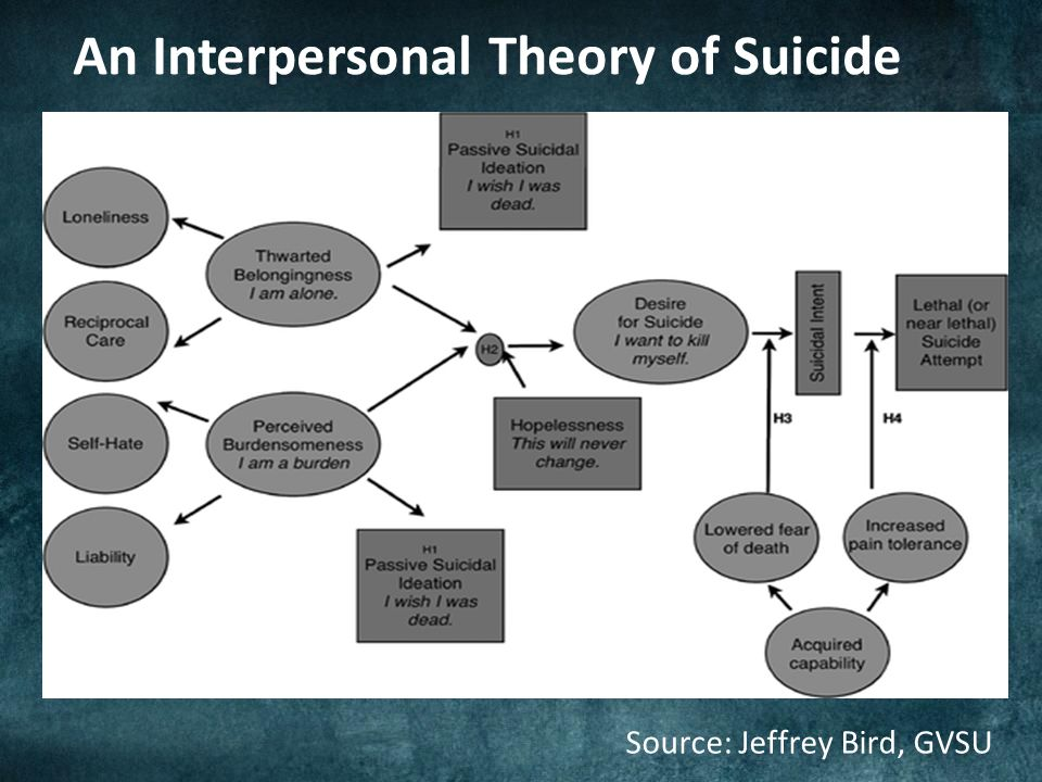 An Interpersonal Theory of Suicide Source: Jeffrey Bird, GVSU