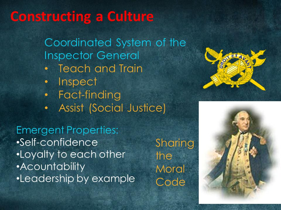 Constructing a Culture Coordinated System of the Inspector General Teach and Train Inspect Fact-finding Assist (Social Justice) Emergent Properties: Self-confidence Loyalty to each other Acountability Leadership by example Sharing the Moral Code
