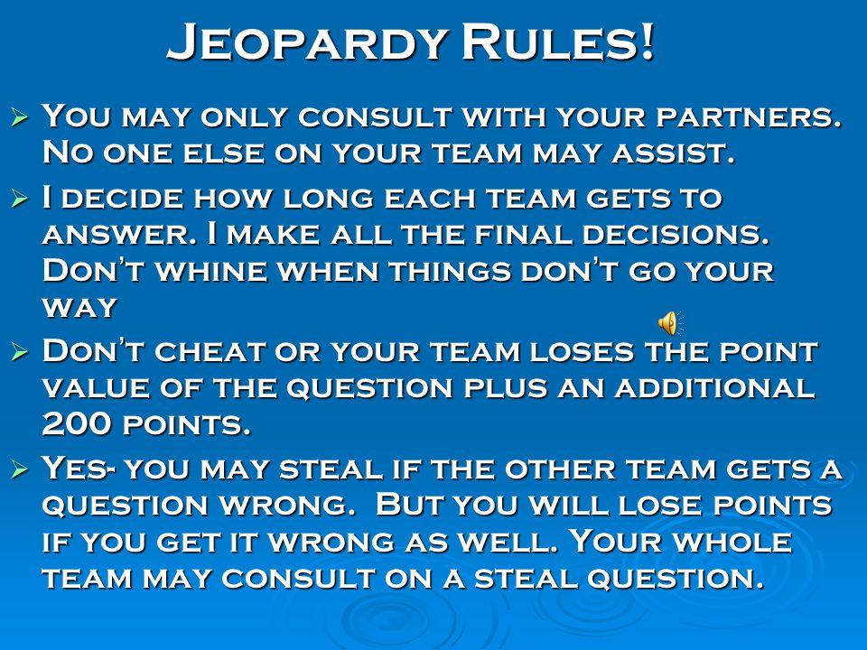 Final Exam Jeopardy! World History II