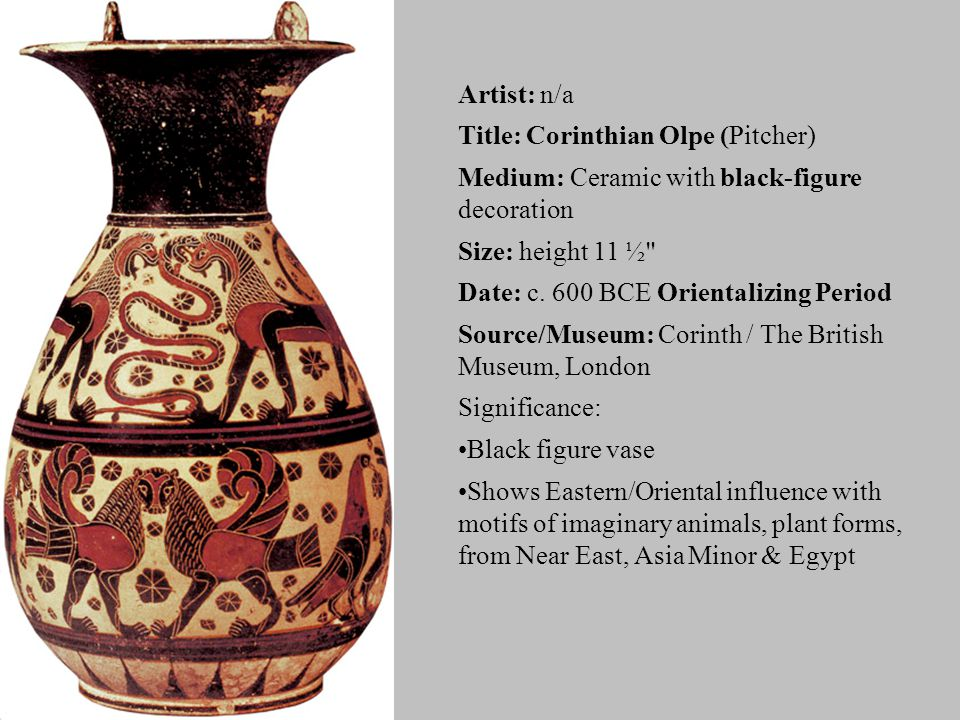 Artist: n/a Title: Corinthian Olpe (Pitcher) Medium: Ceramic with black-figure decoration Size: height 11 ½ Date: c.