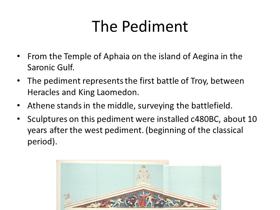 The Pediment From the Temple of Aphaia on the island of Aegina in the Saronic Gulf. The pediment represents the first battle of Troy, between Heracles