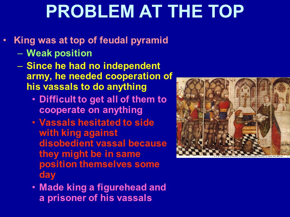 PROBLEM AT THE TOP King was at top of feudal pyramid –Weak position –Since he had no independent army, he needed cooperation of his vassals to do anything Difficult to get all of them to cooperate on anything Vassals hesitated to side with king against disobedient vassal because they might be in same position themselves some day Made king a figurehead and a prisoner of his vassals