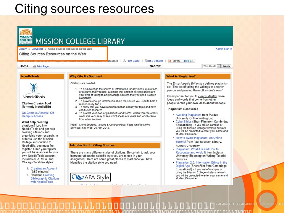 Citing sources resources