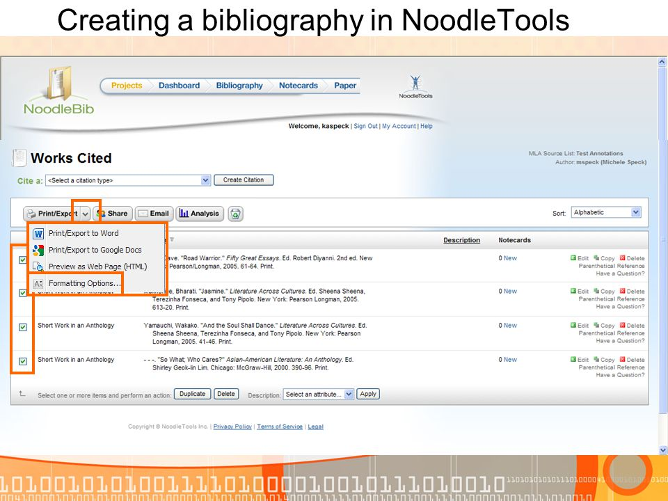 Creating a bibliography in NoodleTools