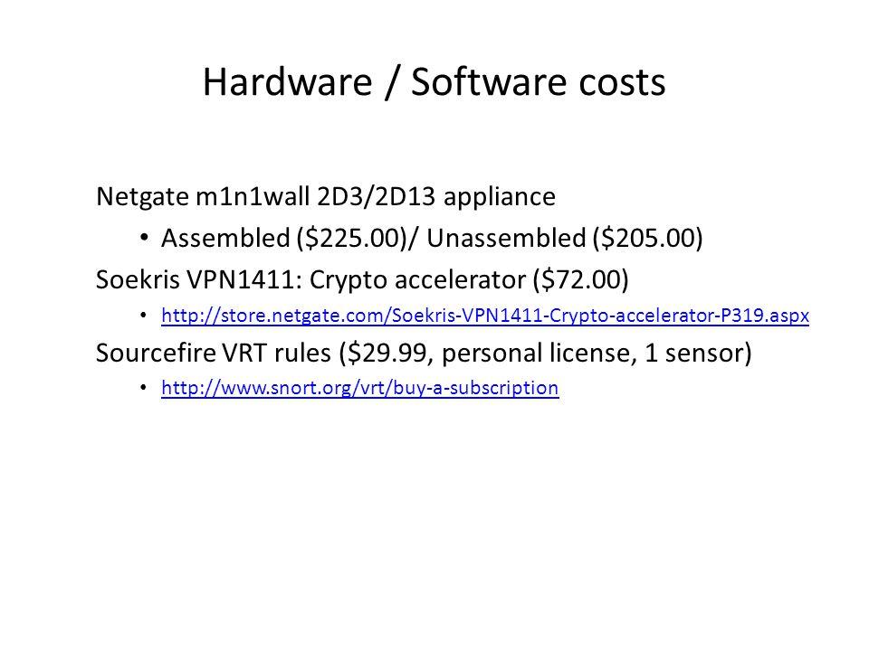 Hardware / Software costs Netgate m1n1wall 2D3/2D13 appliance Assembled ($225.00)/ Unassembled ($205.00) Soekris VPN1411: Crypto accelerator ($72.00) http://store.netgate.com/Soekris-VPN1411-Crypto-accelerator-P319.aspx Sourcefire VRT rules ($29.99, personal license, 1 sensor) http://www.snort.org/vrt/buy-a-subscription