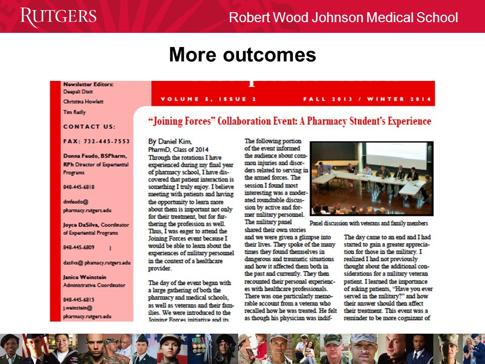Robert Wood Johnson Medical School More outcomes