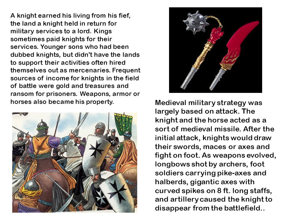 A knight earned his living from his fief, the land a knight held in return for military services to a lord.