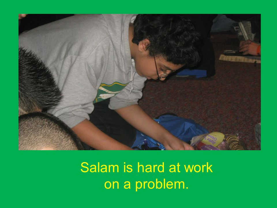 Salam is hard at work on a problem.