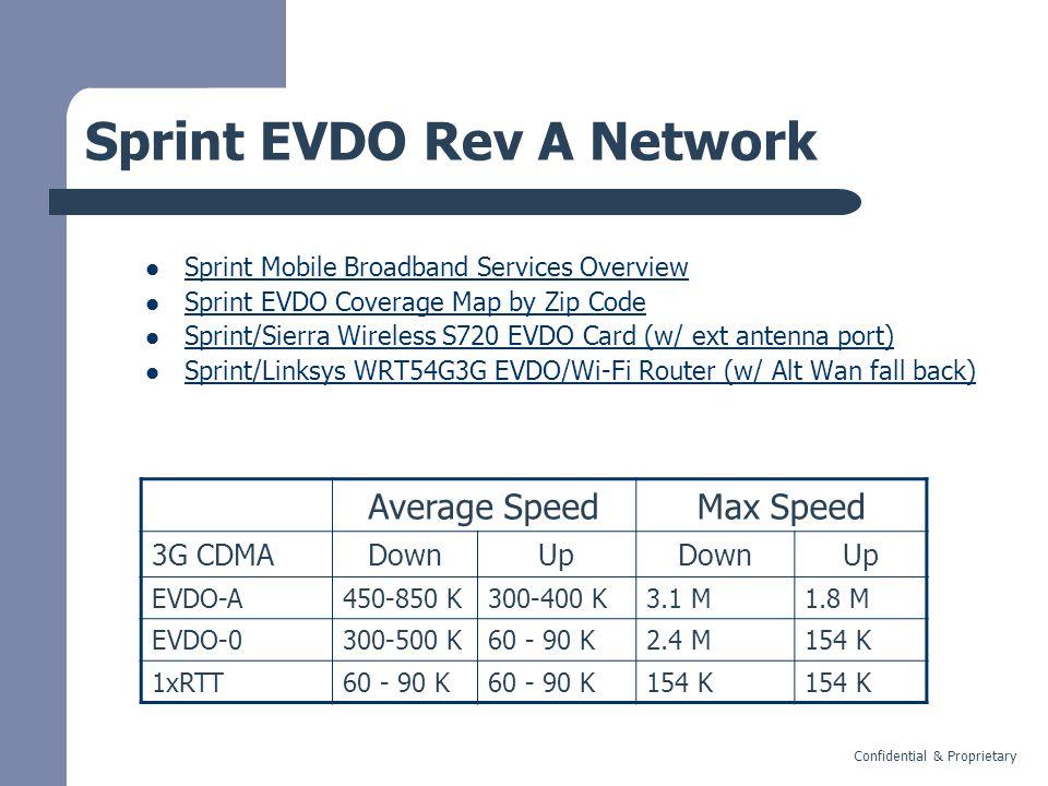 Confidential & Proprietary Sprint EVDO Rev A Network Sprint Mobile Broadband Services Overview Sprint EVDO Coverage Map by Zip Code Sprint/Sierra Wireless S720 EVDO Card (w/ ext antenna port) Sprint/Linksys WRT54G3G EVDO/Wi-Fi Router (w/ Alt Wan fall back) Average SpeedMax Speed 3G CDMADownUpDownUp EVDO-A450-850 K300-400 K3.1 M1.8 M EVDO-0300-500 K60 - 90 K2.4 M154 K 1xRTT60 - 90 K 154 K