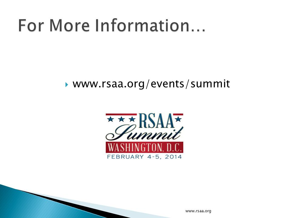  www.rsaa.org/events/summit www.rsaa.org
