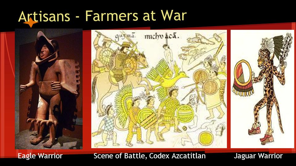 Artisans - Farmers at War Eagle Warrior Scene of Battle, Codex Azcatitlan Jaguar Warrior