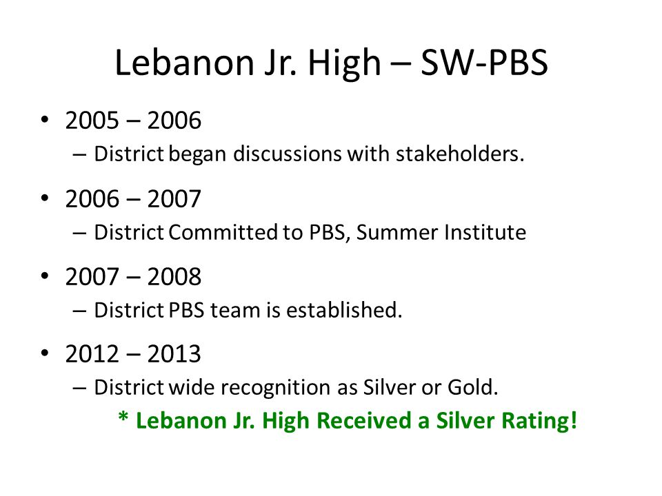 Lebanon Jr. High – SW-PBS 2005 – 2006 – District began discussions with stakeholders. 2006 – 2007 – District Committed to PBS, Summer Institute 2007 –