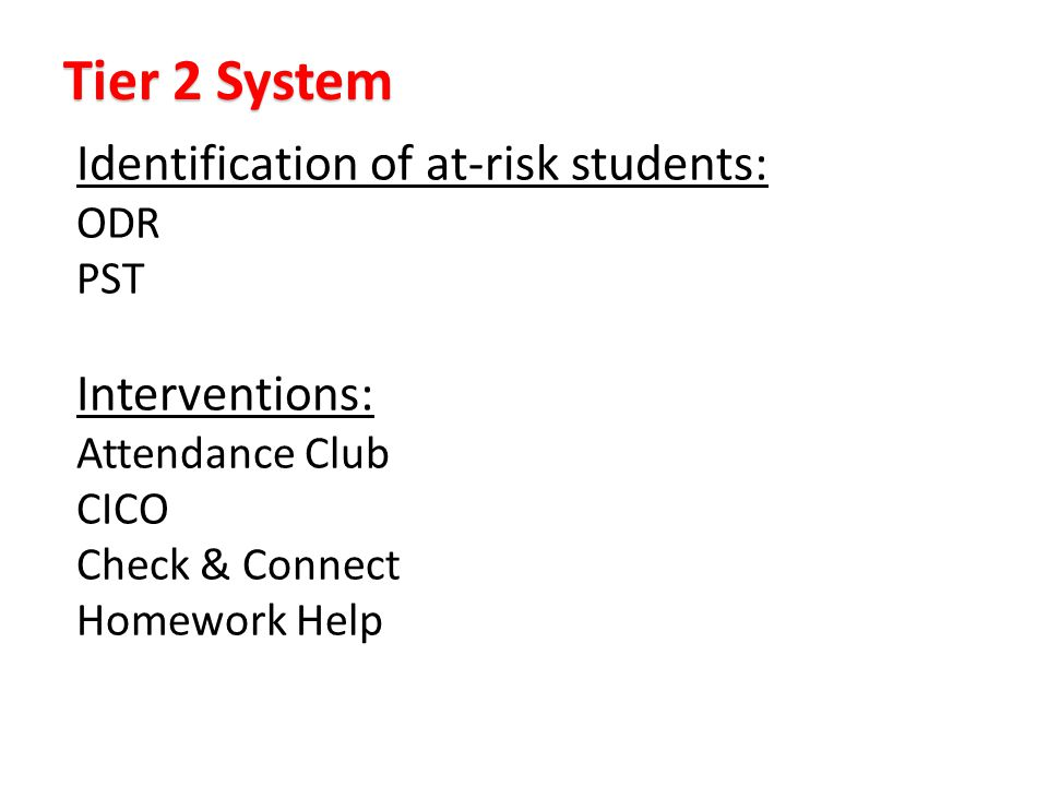 Identification of at-risk students: ODR PST Interventions: Attendance Club CICO Check & Connect Homework Help Tier 2 System