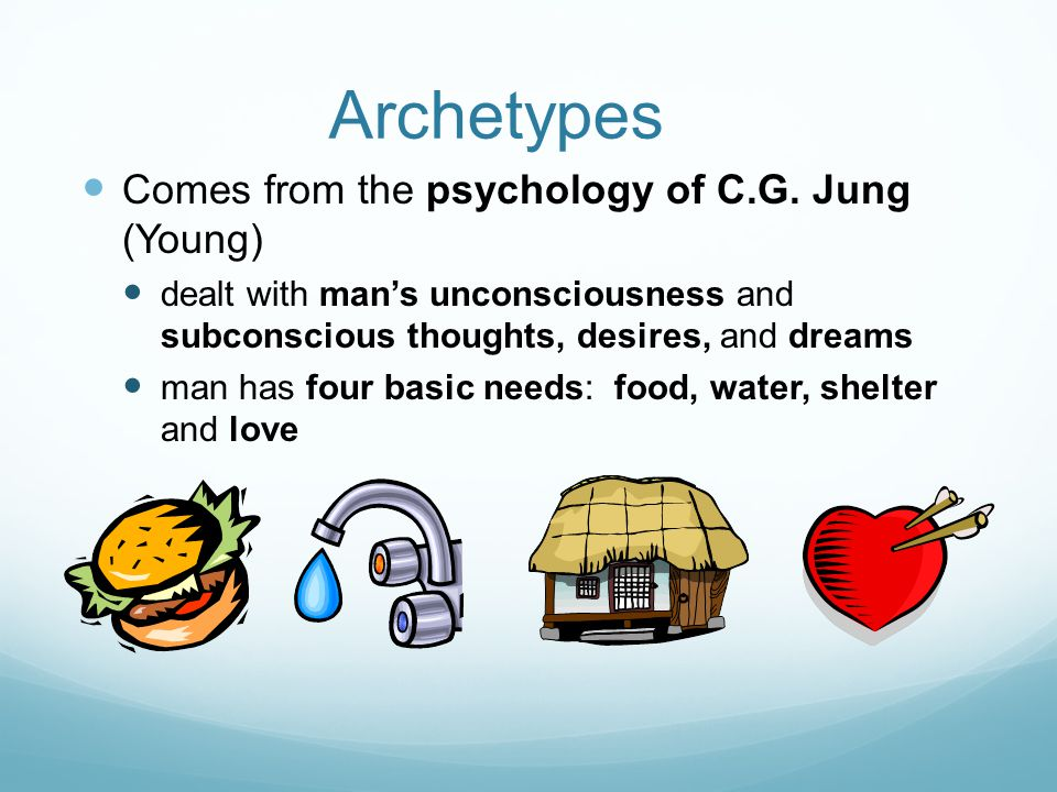 Archetypes Comes from the psychology of C.G.