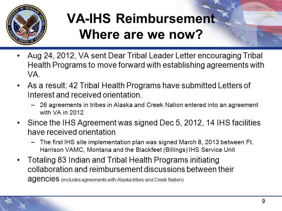VA-IHS Reimbursement Where are we now.