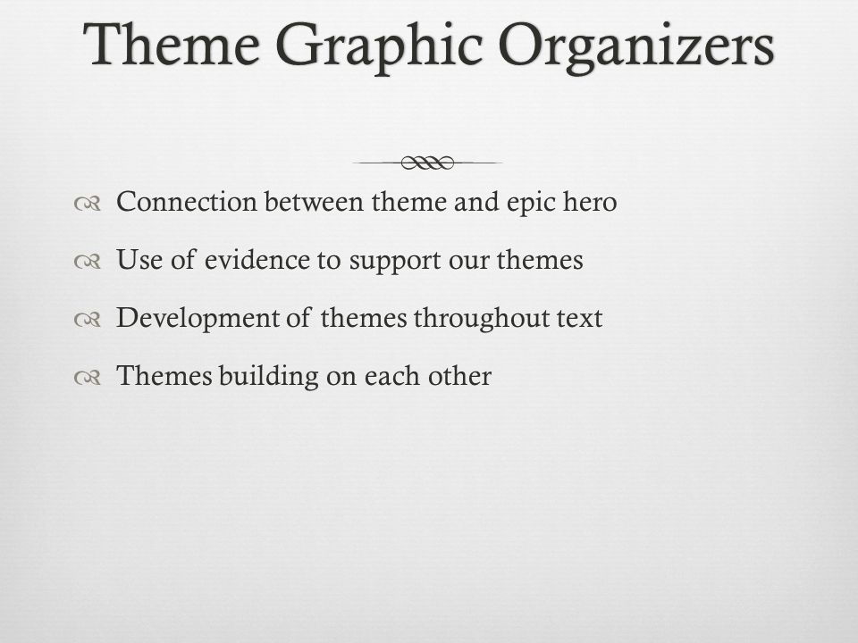 Theme Graphic OrganizersTheme Graphic Organizers  Connection between theme and epic hero  Use of evidence to support our themes  Development of themes throughout text  Themes building on each other
