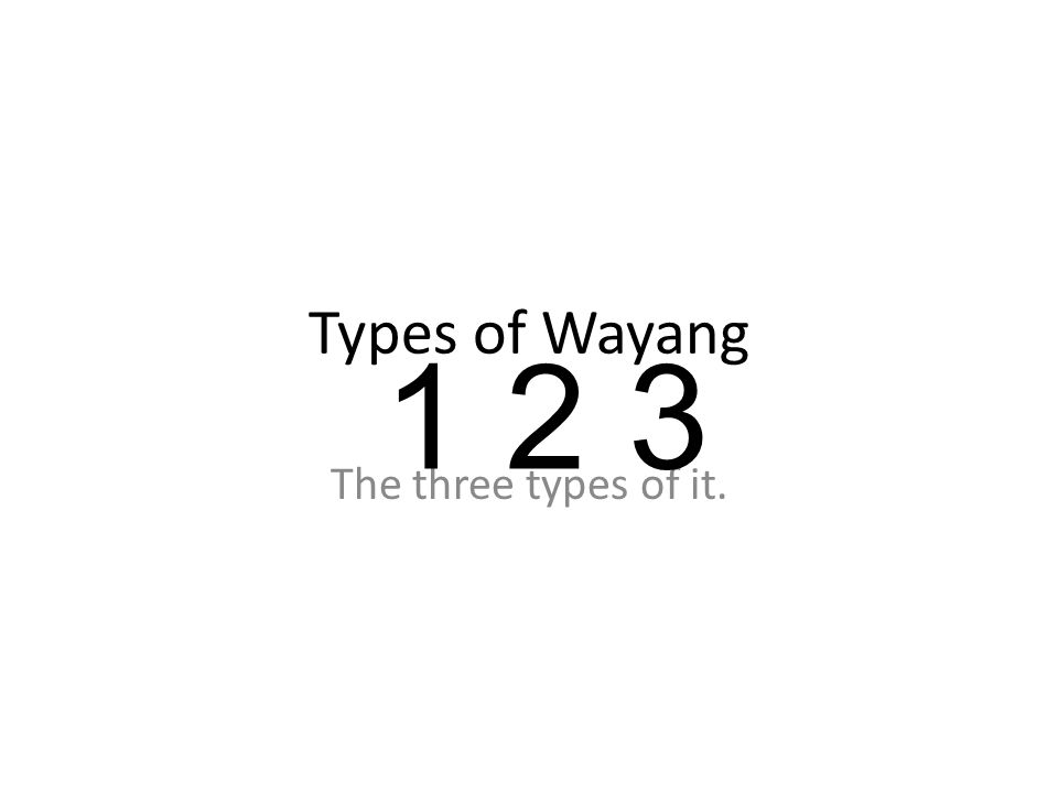 Types of Wayang The three types of it. 1 2 3