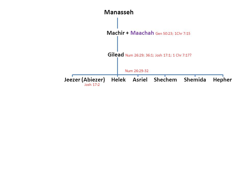 Manasseh Machir + Maachah Gen 50:23; 1Chr 7:15 Gilead Num 26:29; 36:1; Josh 17:1; 1 Chr 7:17? Jeezer (Abiezer) Helek Asriel Shechem Shemida Hepher Jos